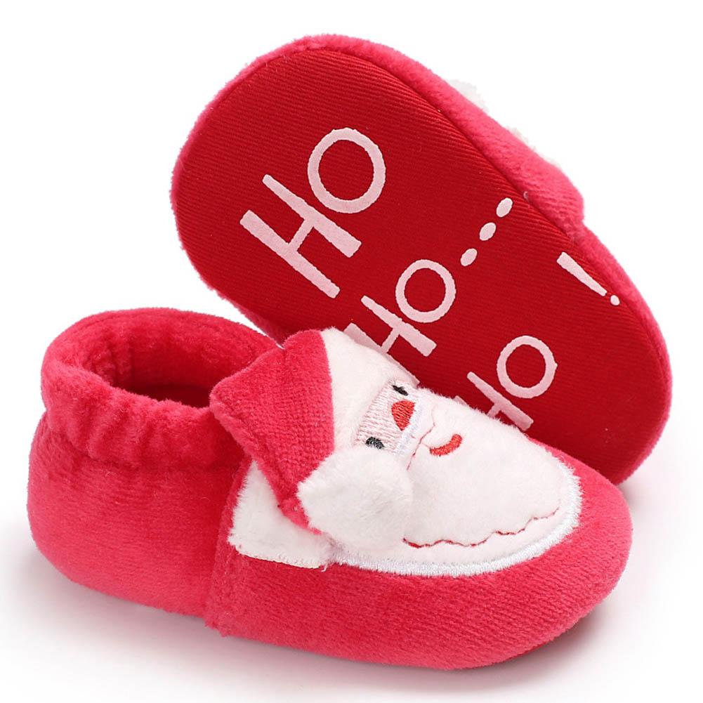 Cute Christmas Unisex Warm Baby Slippers Newborn First Walkers Prewalker Santa Claus Booties Winter Baby Shoes