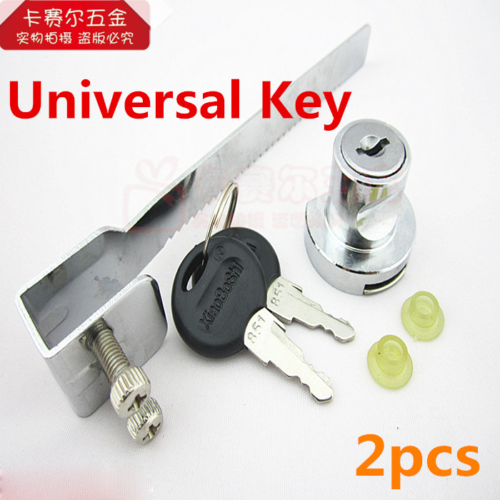 2pcs Universal Key Type Vitrine Lock Sliding Glass Cabinet Door Lock