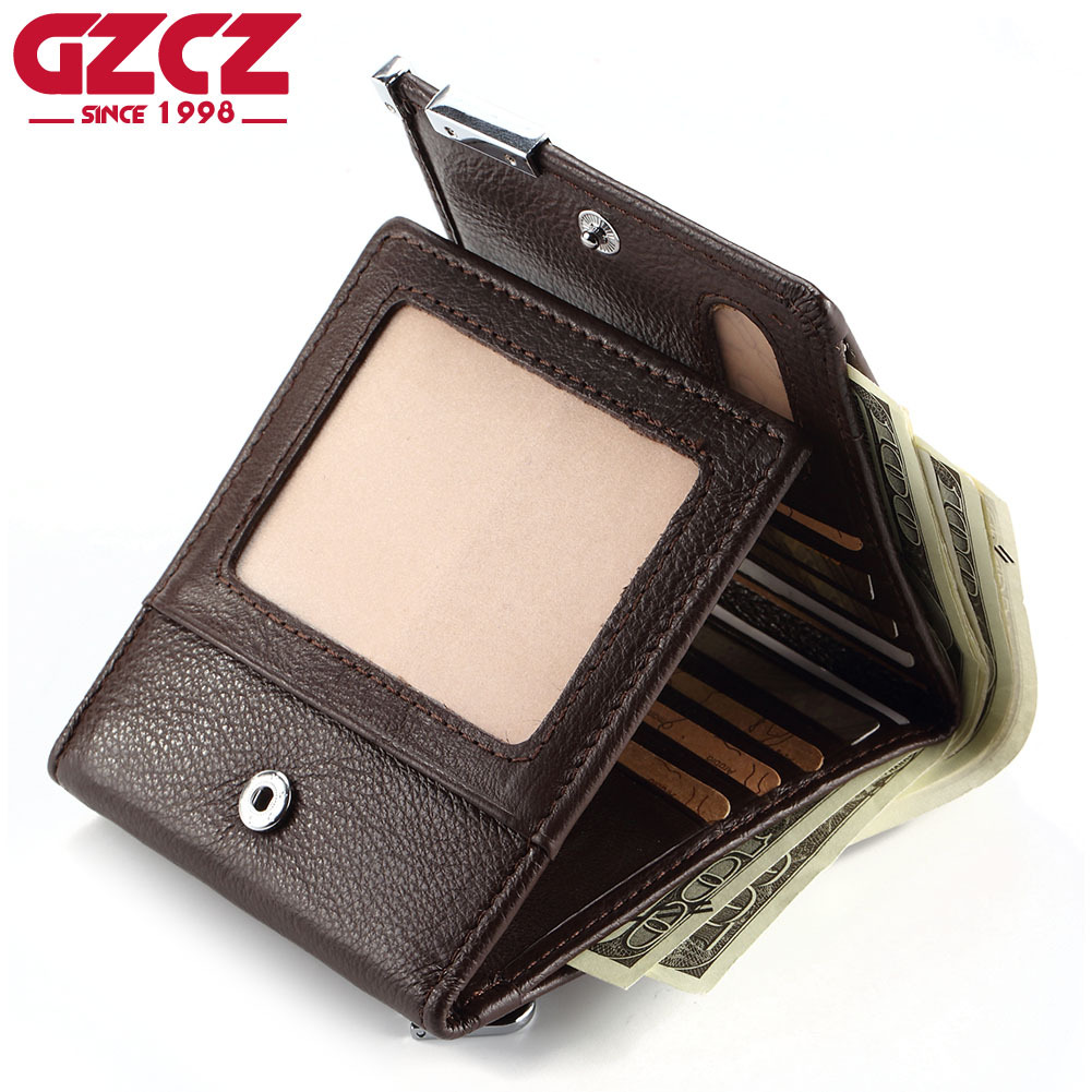 GZCZ Slim Wallet Thin Purse Multi-Card-Holder Small Genuine-Leather Gift Masculina Men