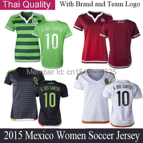 c6dc0a59e2c 15 16 Mexico Women Soccer Jersey 2015 World Cup Green Home Red Away Mexico  Woman SANTOS CHICHARITO Girls Soccer Shirts Mujeres