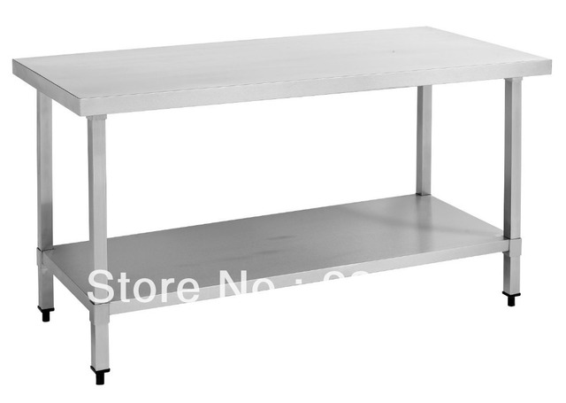 Free Shipping Stainless Steel Work Table Square Legs For Commercial - Stainless steel table with storage