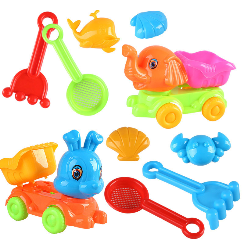 SLPF5 Piece Set Summer Parent-child Interactive Beach Toys Sand Model Kids Play House Outdoor Game Rabbit Rabbit Car Toy New G26