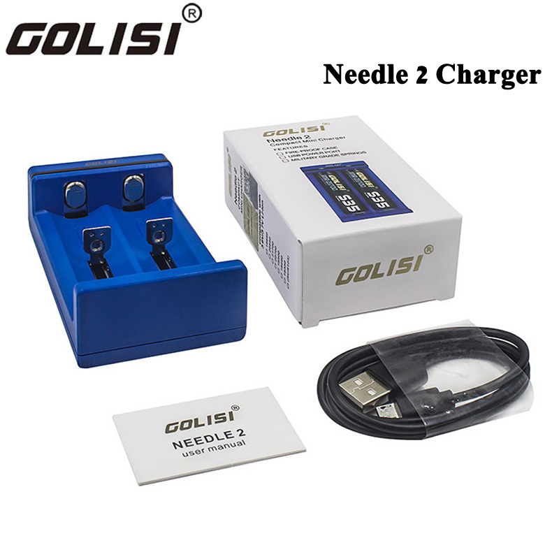 Original Golisi Needle 2 Charger 2 Slots Battery Charger With USB Power Port 5V 1A for 18650 26650 21700 20700 18350 Battery