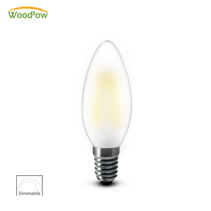 WoodPow E14 E12 RXR Led Candle Bulb C35 B10 Droplight Frosted Retro Filament Light Bulbs 2W 4W 6W Ampoule Vintage Lamp 110V 220V