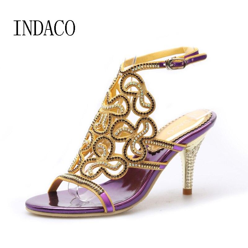 € 51.04 25% de réduction|Or argent noir violet mariage strass sandales en cuir véritable talons hauts été diamant bohème Sexy Stiletto chaussures in