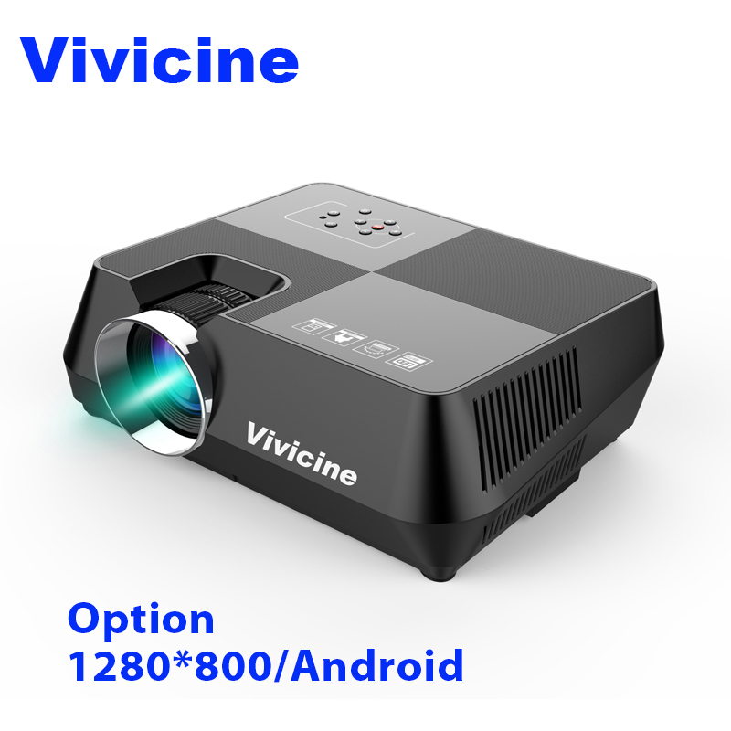 Vivicine 720 p HD proyector opcional Android WIFI Bluetooth HDMI USB PC Mini LED Proyector de película Beamer para Video juegos