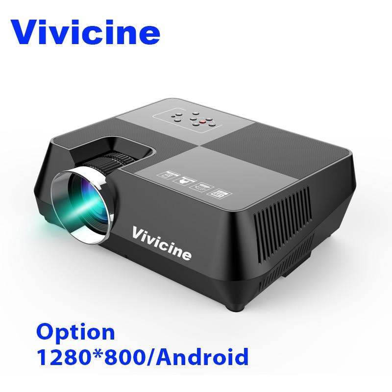 Vivicine 720 p Proiettore Del HD, opzionale Android WIFI Bluetooth HDMI USB del PC Mini LED Proiettore Portatile di Film Beamer per Video giochi