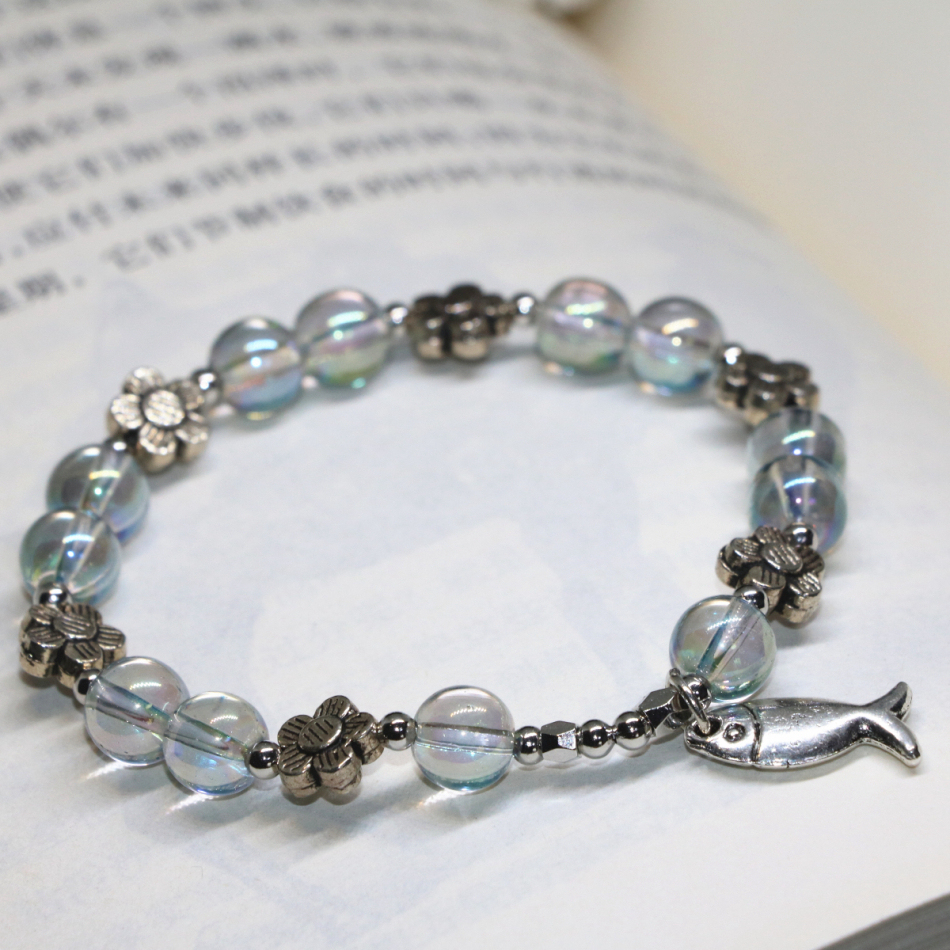 Fish flower accessories fashion costume jewelry women bracelets electroplate crystal 8mm round beads jewelry 7.5inch B2153