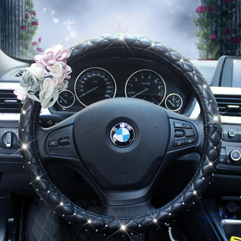 38cm girls car accessories luxury diamonds genuine Leather steering wheel cover for bmw for benz for
