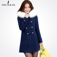 2016 Autumn And Winter Slim Women Woolen Coat Outerwear Female Medium Long Trench Sweet Preppy Style