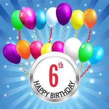Laeacco Happy 6th Birthday Balloon Radiation Stripes Photography Backgrounds Customized Photographic Backdrops For Photo Studio
