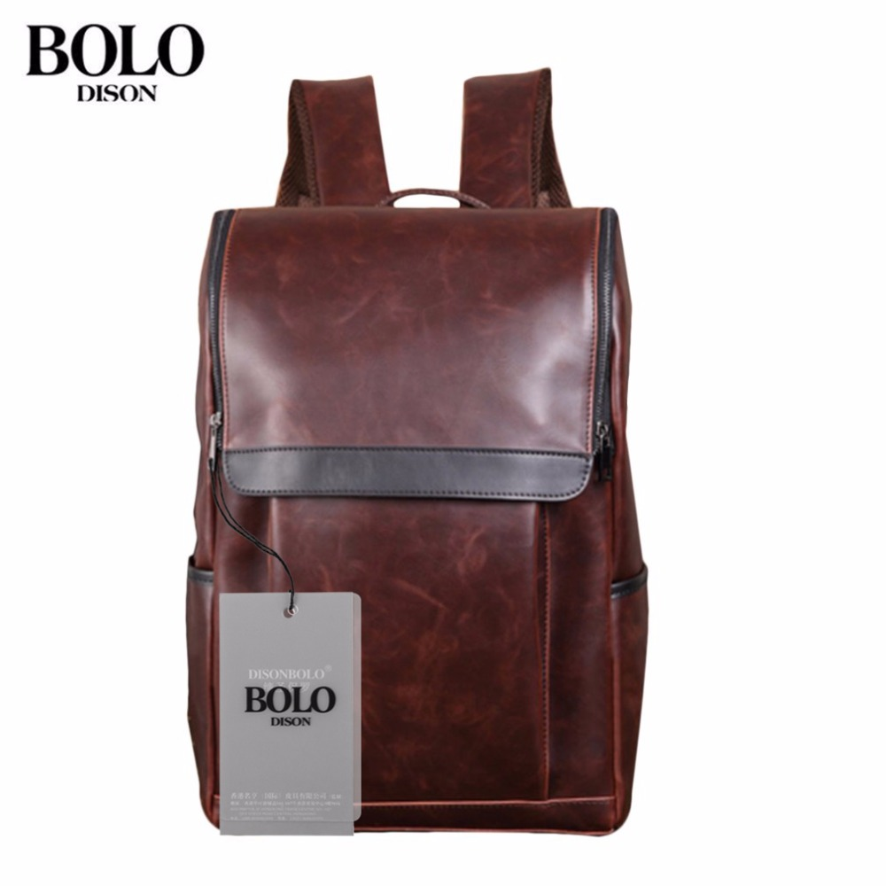 BOLO Brand Fashion Shoulder Backpack Korean Style Male Bag Travel Bag PU Leather Backpack Large Capacity Students Backpack new fashion simple style students canvas shoulder bag large capacity backpack change pouch four sets for girls boys