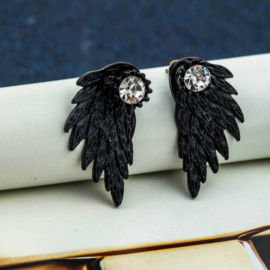 Black Wing Ancient Ways Charm Austrian Crystal Drop Dangle Earrings Geometric Round Shiny Rhinestone Big Earring Jewelry Women