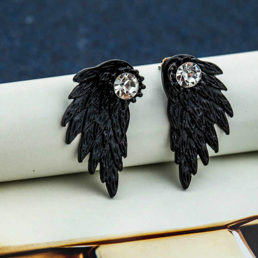 Schwarz Flügel Alte Weisen Charme Österreichischen Kristall Tropfen Baumeln Ohrringe Geometrische Runde Shiny Strass Großen Ohrring Schmuck Frauen