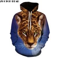 Luna del leopardo 3D Sudaderas Tallas grandes Camisetas Impresas Hombres Suéter de Las Mujeres Nuevo Marca Chándal Con Capucha Bolsillo de la Chaqueta Ocasional