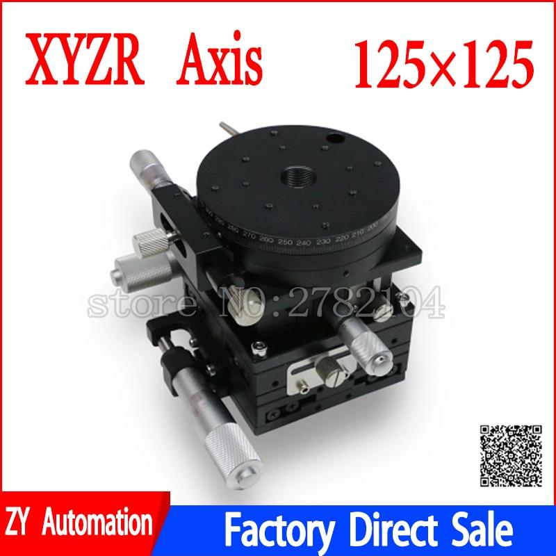 купить V-Type 4 Axis XYZR Axis Trimming Platform Manual Linear Stage Bearing Tuning Sliding Table 125*125mm 49N double cross rail недорого