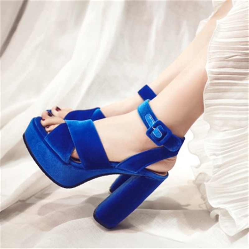 Plus size 34-43 Women Sexy Heels high Flock sandals Summer Fashion Platform Party Gladiator Ankle Strap Thick Heel Woman Shoes big size 32 43 fashion party shoes woman sexy high heels platform summer pumps ankle strap sandals women shoes