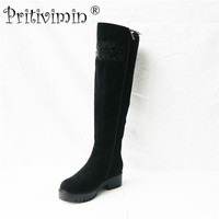 Pritivimin FN75B Winter Women Warm Real Wool Fur Handmade Shoes Ladies Genuine Leather Botte Femme Girl