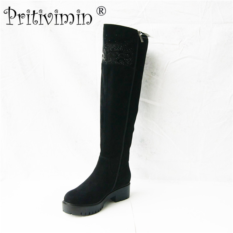 Pritivimin FN75B winter women warm real wool fur handmade shoes Ladies genuine leather botte femme girl over the knee high boot pritivimin fn81 winter warm women real wool fur lined shoes ladies genuine leather high boot girl fashion over the knee boots