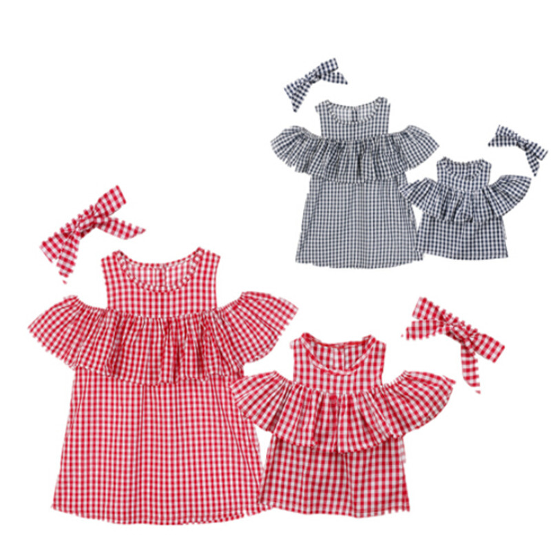 2018 New Arrival Family Matching Clothes Mother And Daughter Off Shoulder Blouse Tops Plaid Ruffle Summer Bow Headwear Clothes ruffle trim tiered cami blouse