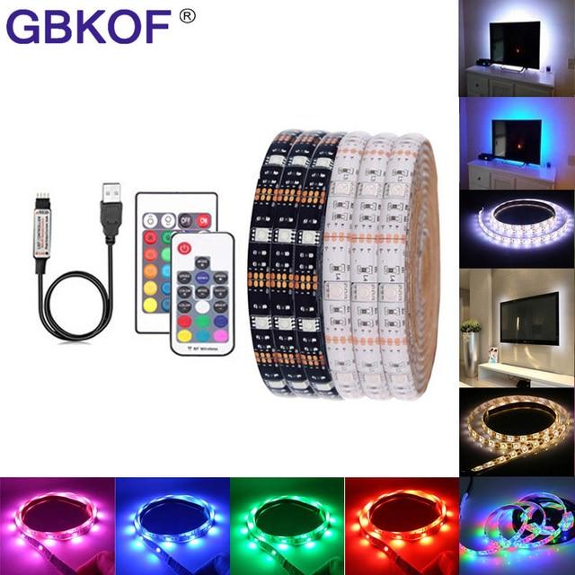 USB RGB LED Streifen Wasserdicht 5 V 5050 SMD RGB USB LED Streifen Licht Dimmbare Band band LED lampe 17key 44Key 24key 3key remote