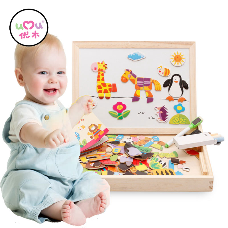 Multifuncional magnético rompecabezas de los niños tablero de dibujo juguetes educativos de aprendizaje de madera rompecabezas juguetes para niños de regalo UQ3089H