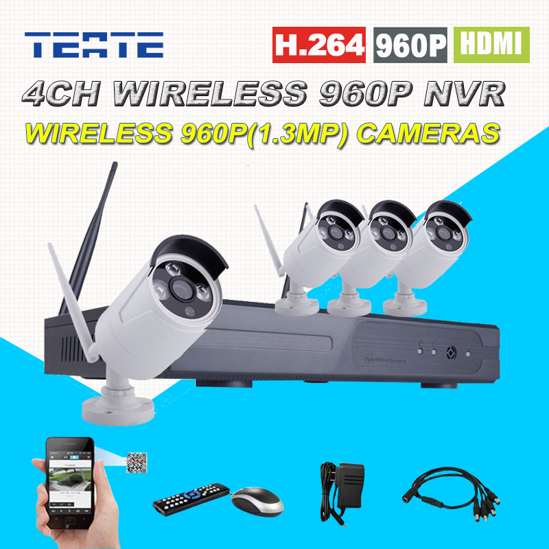 4ch CCTV System Wireless HD 960P NVR 4pcs 960P 1.3MP Waterproof IP WIFI Camera 4channel Home Surveillance Security Safety Kit
