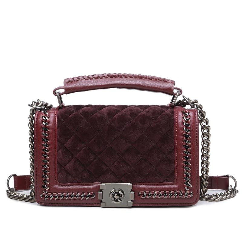 Velour Crossbody bag Women Bag Luxury Women Handbags Purse Designer Brand Ladies Chain Velvet Shoulder Messenger Bags 810