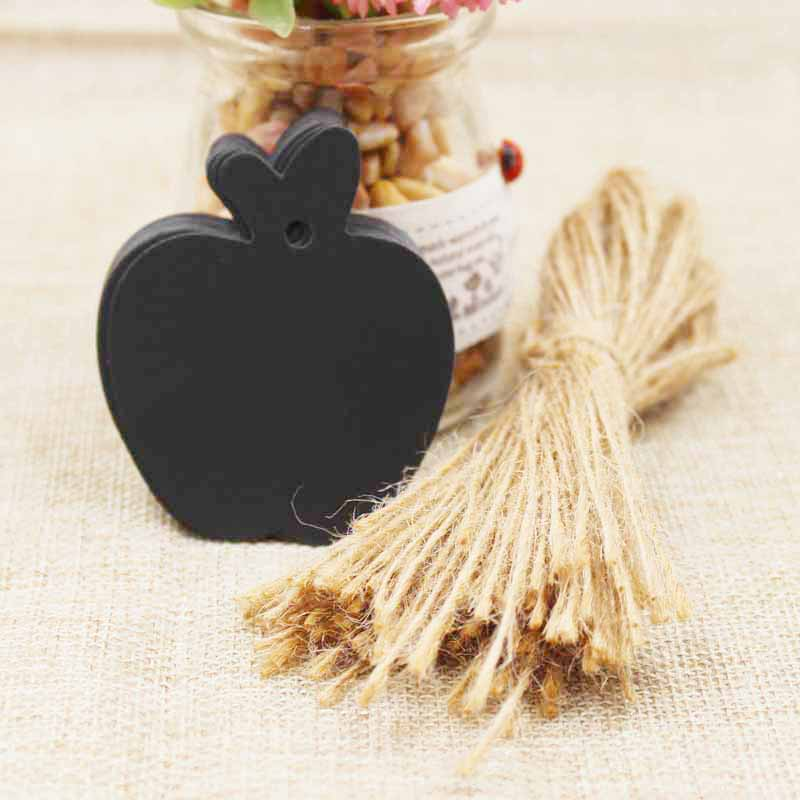 zerongE jewelry Apple Shape brown Paper gift swing tagging tag black/white garment cloth products tag labe 200pcs+200 ropes 3