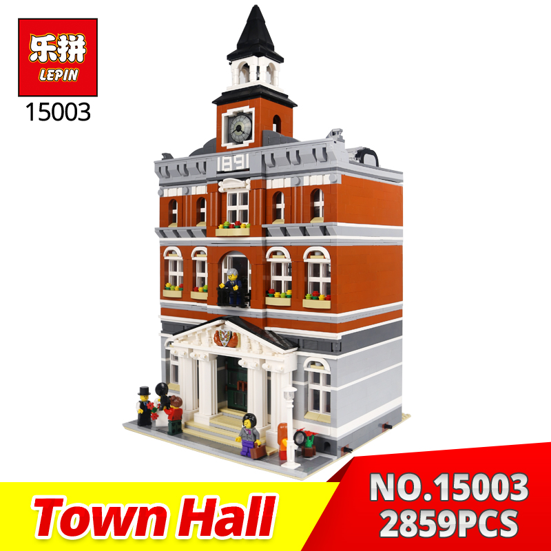 LEPIN Building Bricks 15003 2589Pcs Town Hall Model Building Kits Blocks Compatible with 10224 Toy Gift for Children lepin 16014 1230pcs space shuttle expedition model building kits set blocks bricks compatible with lego gift kid children toy