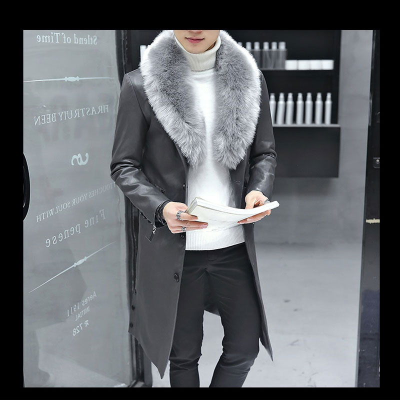 2019 New Winter Blazer Fur Collar Long Section Men fur Coat Men 39 s Business Casual Leather Jacket Fleece Warm Thick Overcoat XXXL in Faux Leather Coats from Men 39 s Clothing