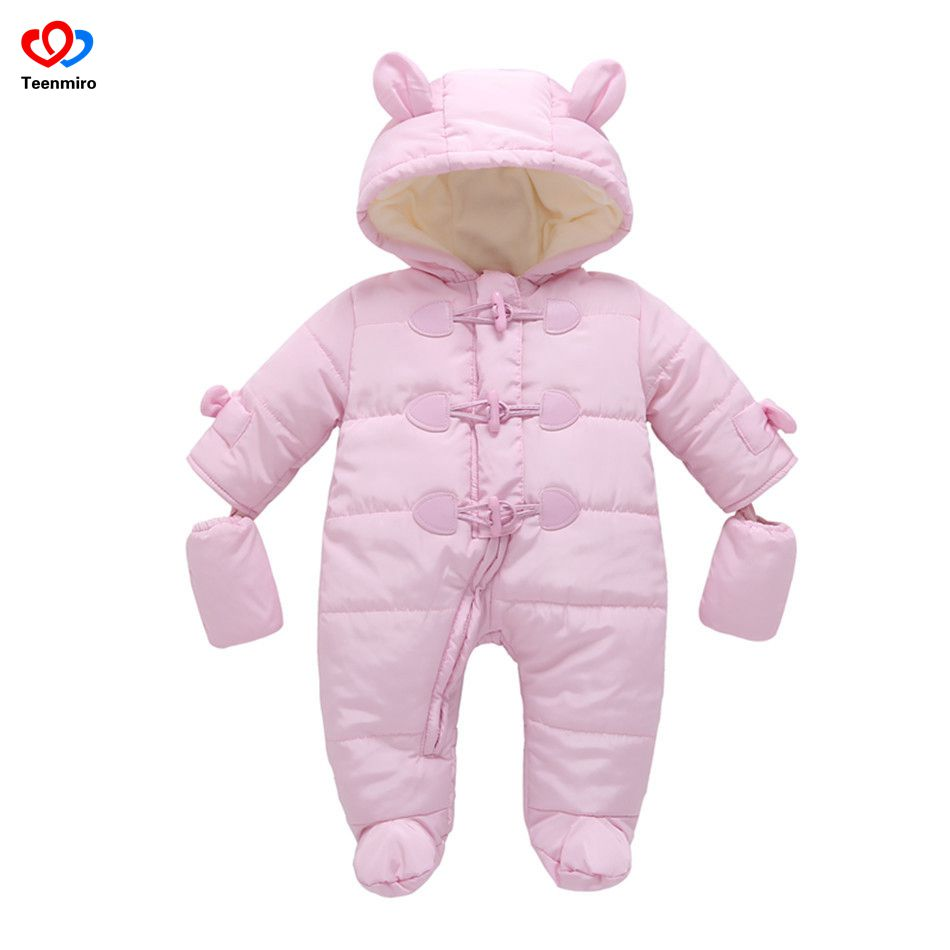 2018 Cute Baby Clothes Newborn Thick Rompers Boys Girls Fleece Jumpsuits Infant Snowsuit Easter Bunny Costume Winter Overalls