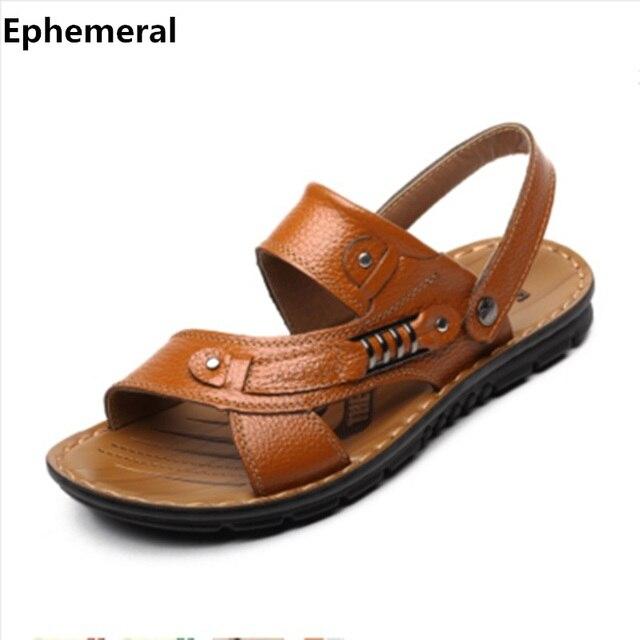 Homme sandales hommes véritable cuir flip flops chaussures en cuir pantoufles sandales d'été mode chaussures VEVxrW