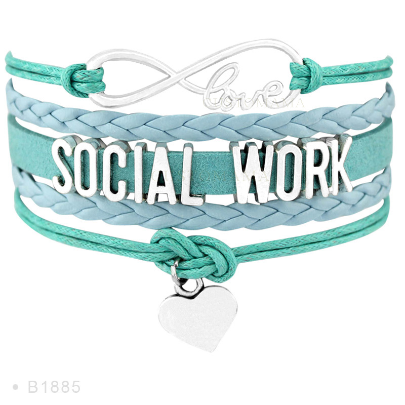 (10 pcs/lot) Infinity Love Social Work Heart Charm Bracelets Gifts Women Men Girl Bracelet Turquoises Leather Custom Jewelry ...