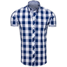ZOGAA New Arrival Mens Fashion Casual Clothes Unique Design Checker Plaid Short Sleeve Shirts Modern Checkerboard Elements