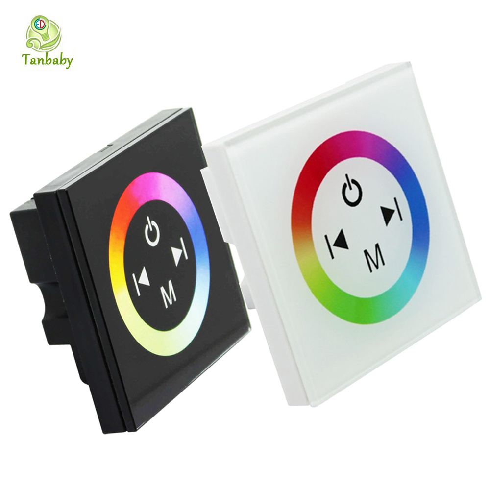 Tanbaby RGB LED Touch Panel Controller DC12-24V 12A 3 channel 86 Wall mounted touchscreen control dimmer for 5050 RGB Strip dc12 24v 16a 4a ch black wall mounted rgb touch panel led controller touch panel rgb full color led controller