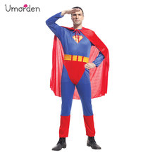 Umorden Adult Men Superman Costume Super Hero Cosplay Christmas New Year Halloween Party Costumes Set Jumpsuit