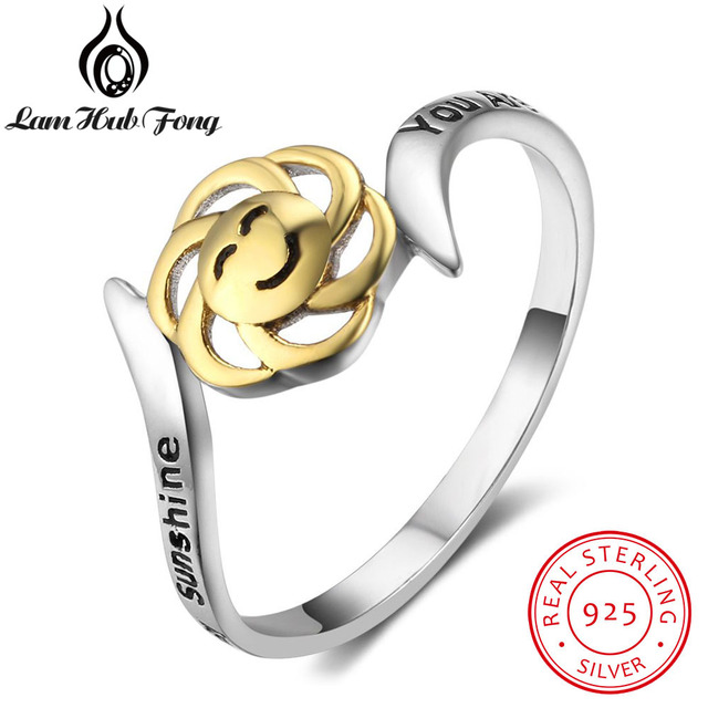 """925 Sterling Silver Flower Ring Smile """"You Are My Sunshine, My Only Sunshine"""" Le"""