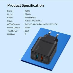Image 5 - TOPK 28 W Sạc Nhanh QC3.0 USB Sạc Du Lịch EU Sạc Điện Thoại Adapter Đối Với iPhone Samsung Xiaomi Huawei Điện Thoại Di Động sạc