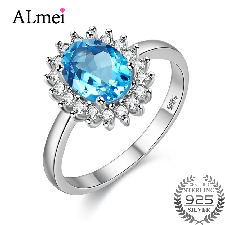 Almei 1ct Blue Gemstone Rings for Women Topa 925 Sterling Silver Fine Jewelry Natural Stones Ring Jewelry with Box 40%FJ089Almei 1ct Blue Gemstone Rings for Women Topa 925 Sterling Silver Fine Jewelry Natural Stones Ring Jewelry with Box 40%FJ089