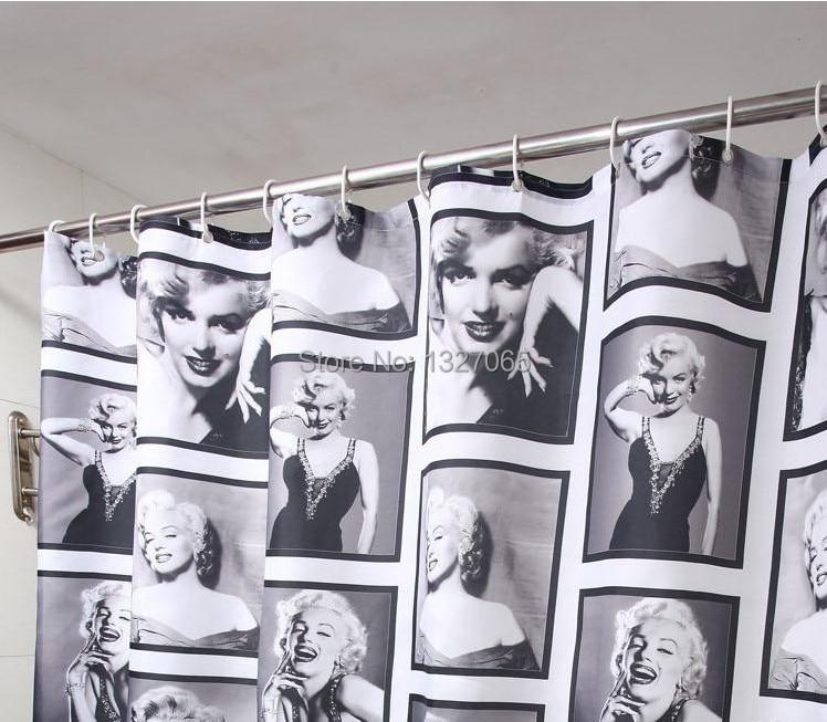 marilyn monroe bathroom waterproof fabric shower curtain with 12