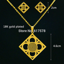 fashion New cencontric circles 316L stainless steel Pendant Necklace and Earring i Set jewelry nice for women girl gift party