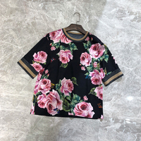 Women Luxury Floral Printing T Shirt O Neck Short Sleeve Tees Ladies Summer Casual Brand Tops