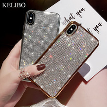 Rhinestone Bling Glitter Case for Samsung S8 S9 Plus S10 Lite S10E Note 8 9 Soft Silicone TPU Diamond Protector Back Cover Coque