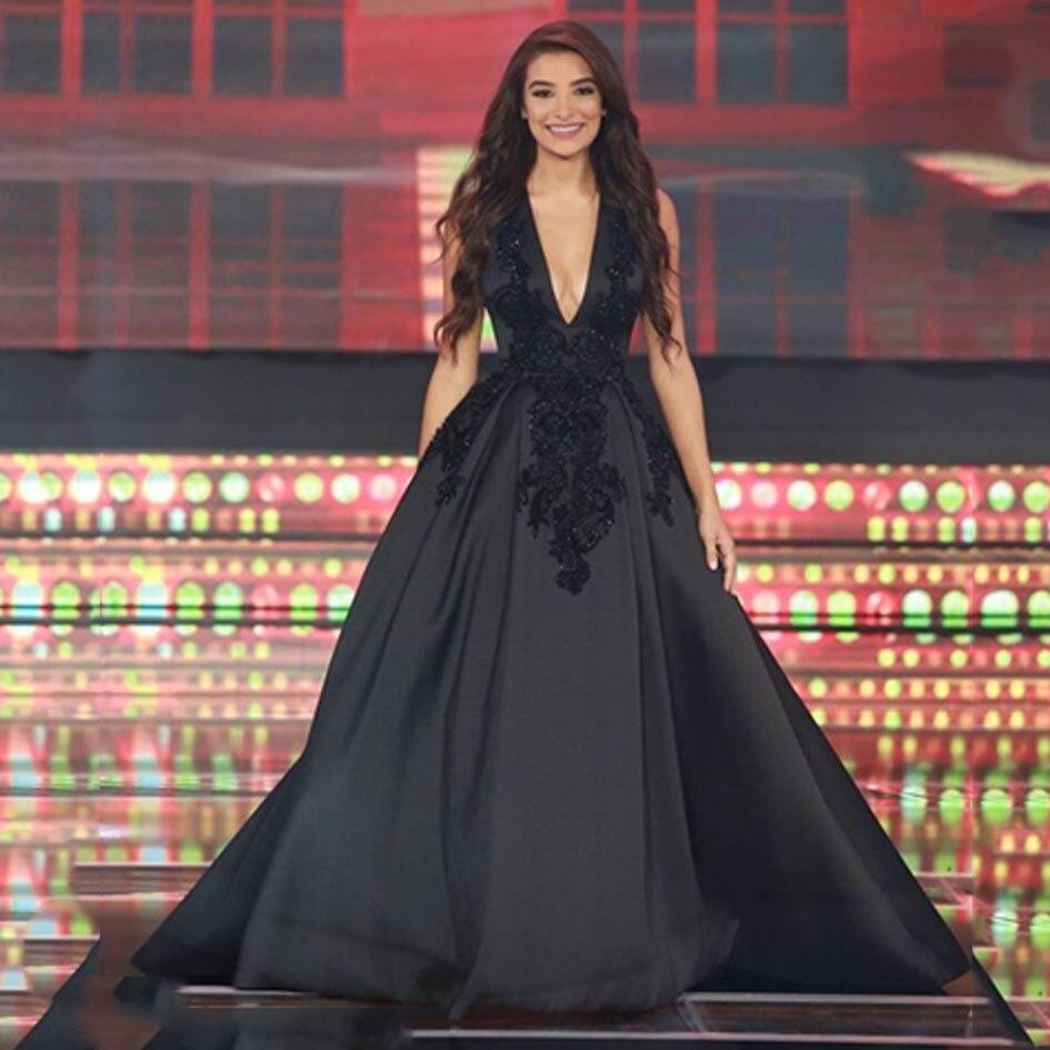 Elegant Black V Neck Evening Dress Appliqued Beaded Sleeveless Long A Line Floor Length Prom Gown