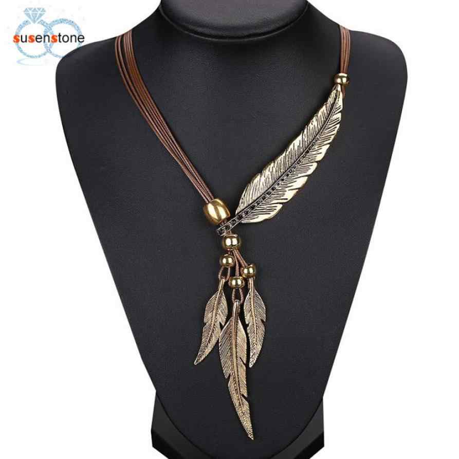 SUSENSTONE 2017 Fashion Alloy Feather Antique Vintage Time Necklace Sweater Chain Pendant Jewelry Brown Gold Silver Kolye