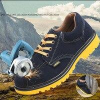 안전 신발 모자 철강 발가락 안전 신발 부츠 여름 남자 작업 신발 남자 통기성 메쉬 크기 신발 내마 모성 dxz036