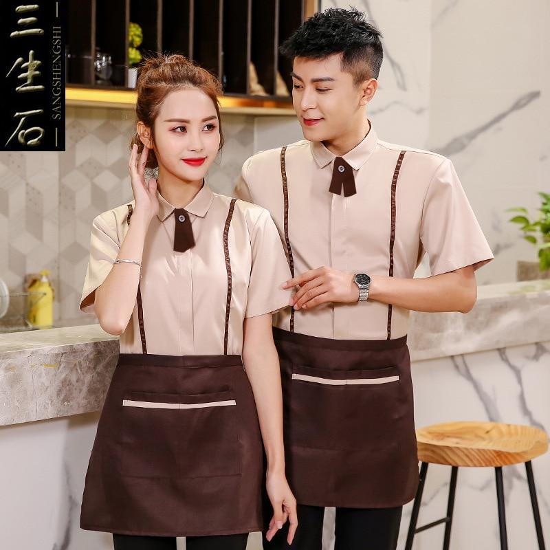 Hotel Coffee Shop Waiter Uniform Restaurant Short Sleeve Summer Catering Plus Size Work Wear Waitress Breathable Overalls H2227