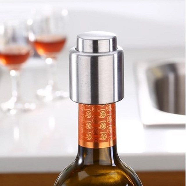 Stainless Steel Vacuum Wine Bottle Stopper Silver Champagne Red Wine