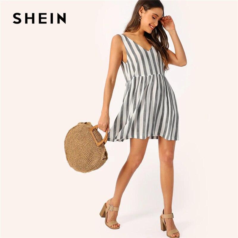 SHEIN повседневное черно-белое двухцветное летнее платье в полоску с v-образным вырезом женское расклешенное сексуальное мини-платье без рука...